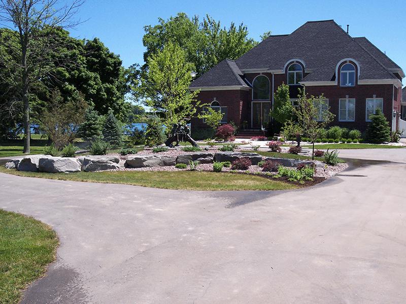 Rocks in front yard